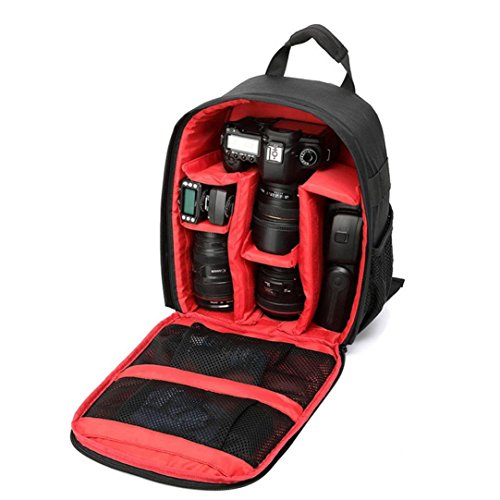 GBSELL New Camera Backpack Bag Waterproof DSLR Case for Canon for Nikon for Sony Red