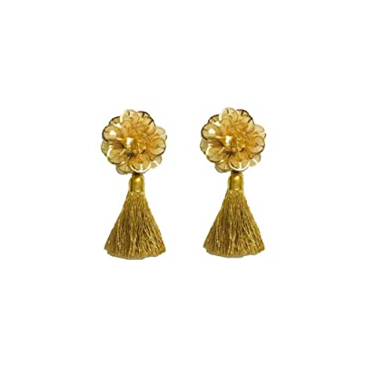 2d8a439e5c618e Eerafashionicing Tassels latkan Hanging Button for Women Dresses and Home  Decor (Pack of 2, Gold): Amazon.in: Home & Kitchen