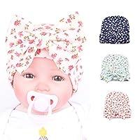 Ademoo Newborn Girl Nursery Beanie Hospital Hat With Rhinestone Bow (Floral 3...