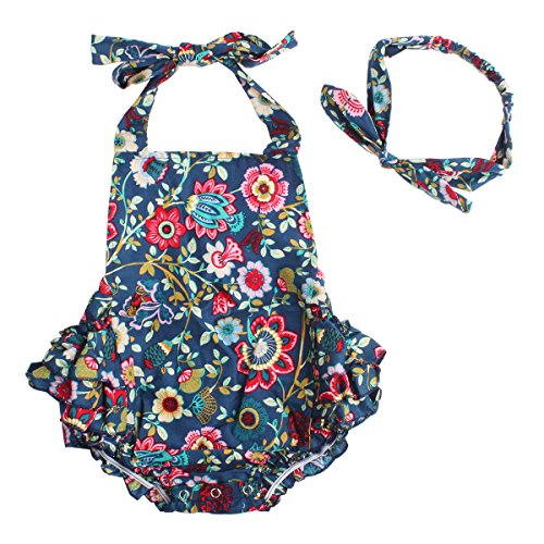 Slowera Baby Girls 2pcs Sets Cotton Ruffles Romper Outfits Clothes (S:6Months, Navy Blue (Infant Bubble)
