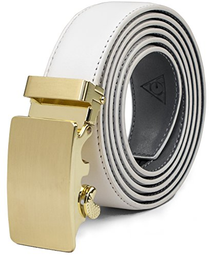AOG DESIGN Two-Tone Leather Ratchet Belt Solid Buckle - Magnetic Edition (Gold - White and Gray),One Size Adjustable
