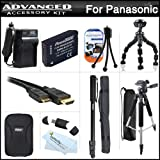 Advanced Accessory Kit For Panasonic DMC-ZS20, DMC-ZS25, DMC-ZS25K Digital Camera Includes Extended (1200mAh) Replacement DMW-BCG10 Battery + Ac/Dc Travel Charger + Deluxe Case + Mini HDMI Cable + 57 Pro Tripod + 67 Monopod + Screen Protectors + More
