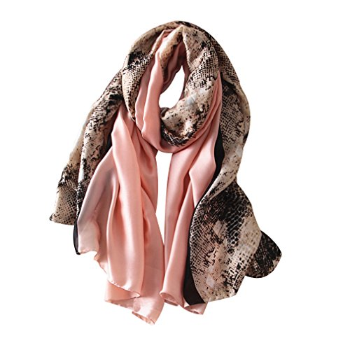 DOCILA Lightweight Spring Long Scarves Fashion Snakeskin Print Shawl Stole (Pink)