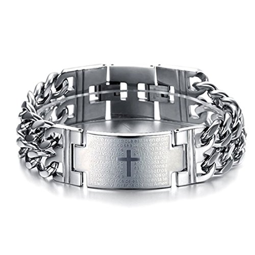 Free Cancer Ship (Free Ship Deal Bold Cross Stainless Steel Men's Bracelet)