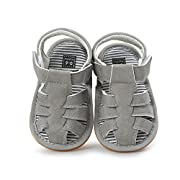 Baby Leather Moccasins, Infant Baby Boys Girls PU Leather Rubber Sole Summer Sandals First Walkers, 0-6 Months, Grey