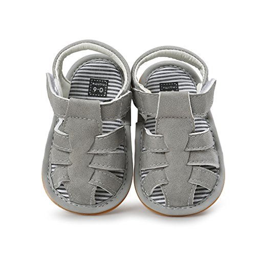 (Baby Leather Moccasins, Infant Baby Boys Girls PU Leather Rubber Sole Summer Sandals First Walkers)