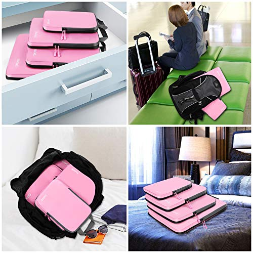 4 Set Compression Packing Cubes Travel Expandable Packing Organizers(Pink)