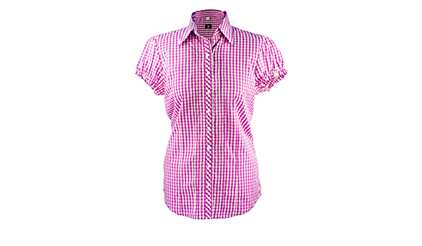 Blusa de manga corta para mujer, blusa a cuadros en color ...