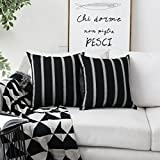 HOME BRILLIANT Decorative Country Throw Pillow Covers Modern Farmhouse Stripe Cushion Covers for Bed Sofa Couch Decoration, 18 x 18 inches(45x45cm), Black