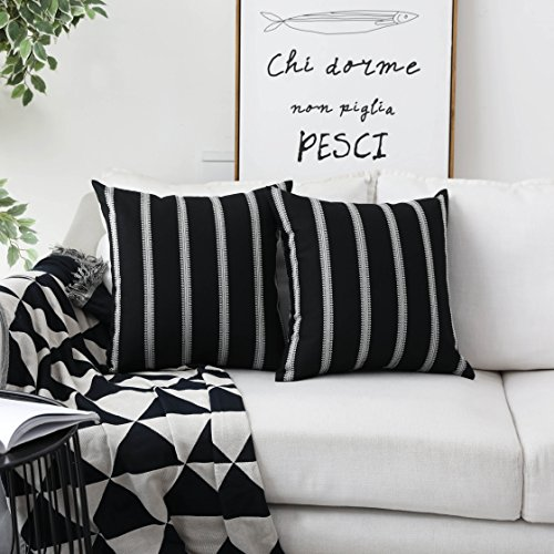 HOME BRILLIANT Decorative Country Throw Pillow Covers Modern Farmhouse Stripe Cushion Covers for Bed Sofa Couch Decoration, 18 x 18 inches(45x45cm), Black (Black Big Pillows)
