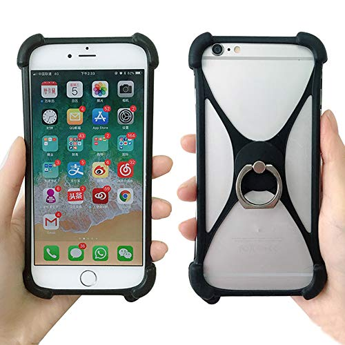 Universal Phone Ring Holder Case Fit iPhone XS Max XR X 7 8 Plus Security Phone Grip Elastic Silicone Bumper Cover Compatible with Huawei P20 Pro Samsung S9 Xiaomi Mi8 Phones Size 4 to 6.5 (Black)