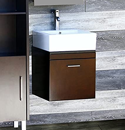 Elimaxu0027s Solid Wood 18u0026quot; Bathroom Vanity Wall Mounted Cabinet Black  Granit Top Sink ...