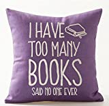 Purple Throw Pillows Book Lover Reading Book Club I Have Too Many Books Purple Background Cotton Linen Decorative Throw Pillow Case Cushion Cover Square 18