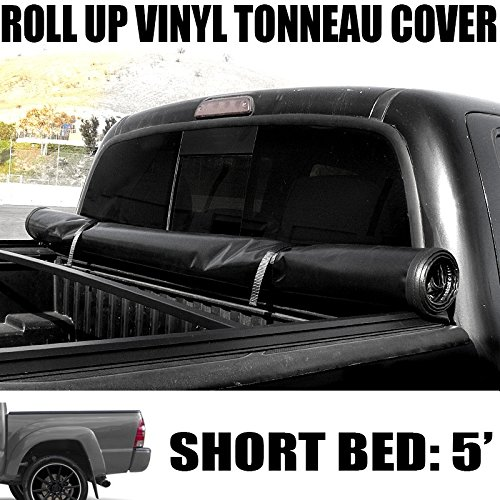 "VXMOTOR Lock & Roll-Up Soft Vinyl Truck Bed Topper Cap Tonneau Cover 2016-2017 Toyota Tacoma 5 Ft 60"" Short Bed Access / Double Cab Fleetside"
