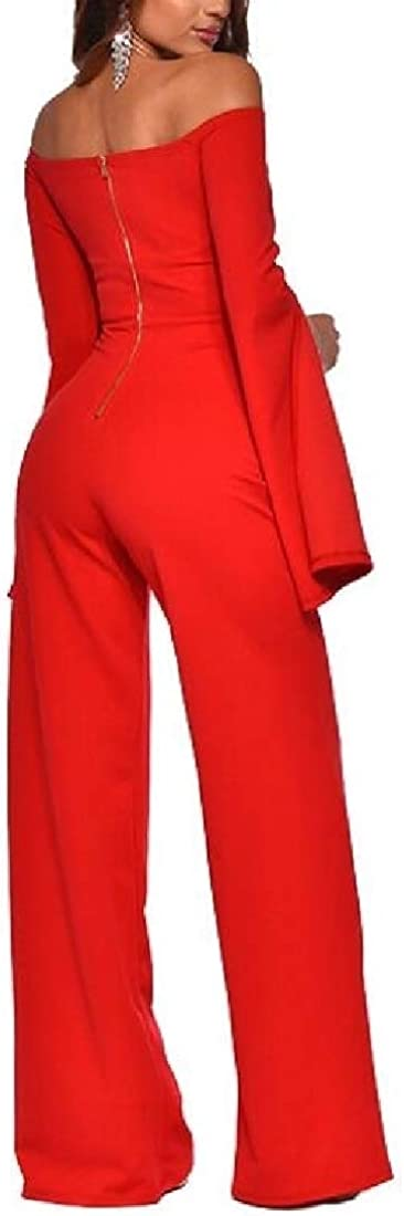 RRINSINS Womens Bell Sleeve Off Shoulder Wide Leg Palazzo Jumpsuit Romper