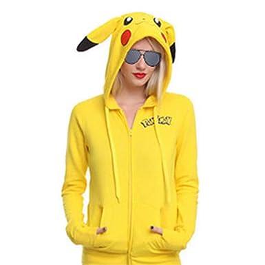 Women s Pokemon Pikachu Costume Hoodie Cute Cartoon Zipper Up Hooded Jacket  Yellow bef09d94c