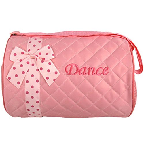 Silverhooks Girl's Quilted Nylon Dance Duffle Bag w/ Polka Dot Bow (Light Pink) (Ballet Bags For Teens)