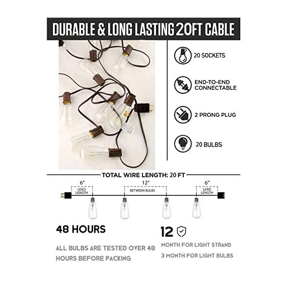Afirst Outdoor String Lights 20Ft with 20 Edison Bulbs Vintage Bistro String Lights Waterproof Patio String Lights for Garden/Backyard Party/Wedding-Brown Cord - 💡【20FT & End-to-end connectable】Total Length 20 Ft outdoor string lights ,Connect up to five strings end to end to light up a larger area. Replace only with the same 7 watt max intermediate base UL classified light. 🎄【UL Certification】20 edison bulbs that have candelabra (E17) socket base, all bulbs are tested over 48 hours before packing. 🎅【IP44 Waterproof】Vintage bistro string light is waterproof,and each bulb is replaceable and giving a spare fuse.Average life:12 month for cable and socket,3 month for light bulbs. - patio, outdoor-lights, outdoor-decor - 51%2BWozoTrfL. SS570  -