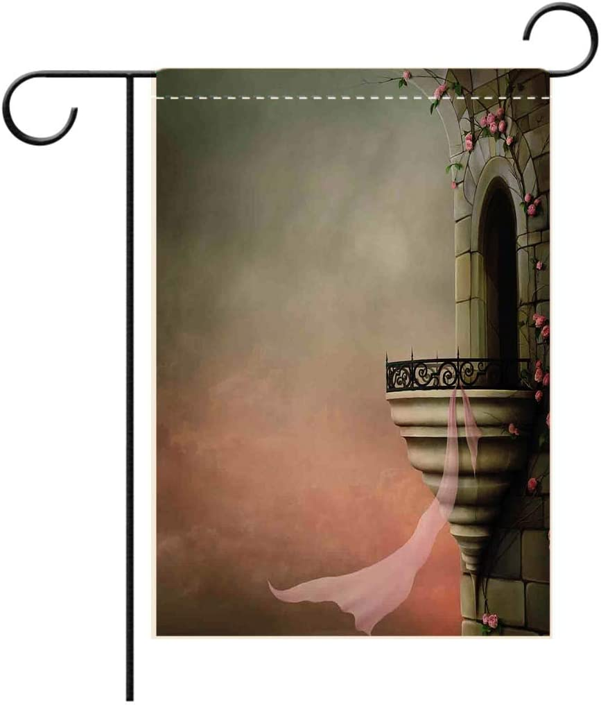 BEISISS 2-Sided Printing Holiday Garden Flag,Gothic Decor Old Fantastic Tower with Medieval Style Balcony and Rose Ivy Gothic Horror Fictiondecorated for Outdoor Holiday Gardens