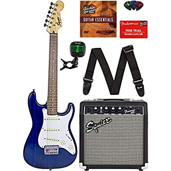 Squier by Fender Short Scale Stratocaster - Transparent Blue Bundle with Frontman 10G Amp, Cable, Tuner, Strap, Picks, Fender Play Online Lessons, ...