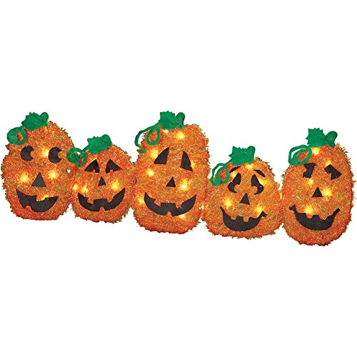Lighted Halloween Pumpkin Pathway Fence