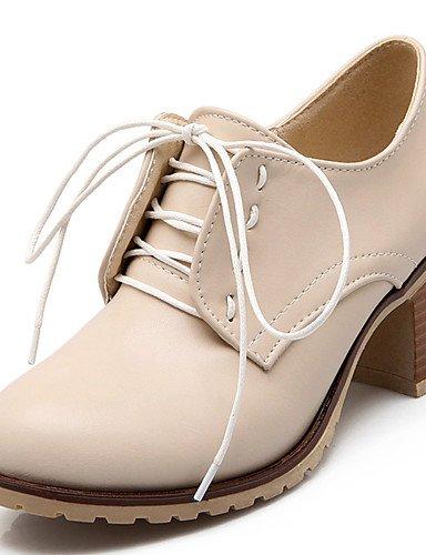 GGX/ Zapatos de mujer-Tacón Robusto-Tacones / Plataforma / Punta Redonda-Tacones-Vestido / Fiesta y Noche-Semicuero-Negro / Marrón / Rosa / , brown-us10.5 / eu42 / uk8.5 / cn43 , brown-us10.5 / eu42 / black-us6.5-7 / eu37 / uk4.5-5 / cn37