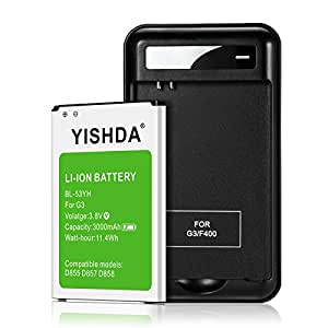 YISHDA LG G3 Battery 3000mAh Phone Battery Replacement for LG G3 with LG G3 Spare Battery Charger | LG G3 Spare Battery & LG G3 Replacement Battery Kit