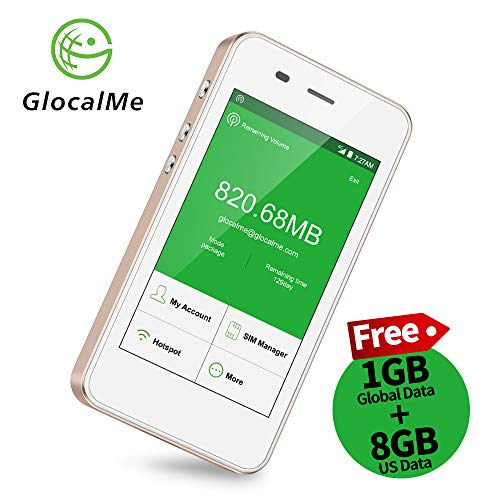 GlocalMe G3 4G LTE Mobile Hotspot,Worldwide High Speed WiFi Hotspot with 8GB US and 1GB Global Initial Data for 30 Days,No SIM Card Roaming Charges International Pocket WiFi Hotspot MIFI Device -Gold