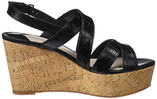 Wedge black Sandales Cortefiel Plateau Noir b Femme 4 t croco IOpqv