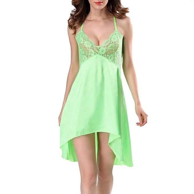 XIAOXUE Lencería Sexy para Mujer Lentejuelas De Seda Vestido De Dormir Vestido Mini Babydoll Bata De Noche,Green-XXL: Amazon.es: Ropa y accesorios