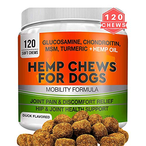 GOODGROWLIES-Hemp-Hip-Joint-Supplement-for-Dogs-Glucosamine-Chondroitin-MSM-Turmeric-Hemp-Seed-Oil-Hemp-Protein-for-Joint-Pain-Relief-Mobility-120-Soft-Chews
