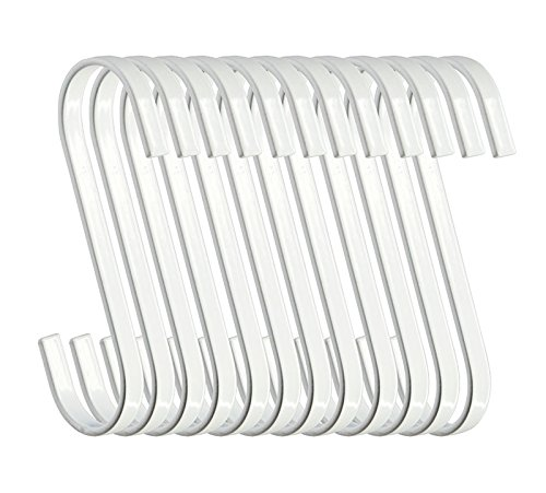 RuiLing 12-Pack 4.5 Inch White Chrome Finish Steel Hanging Flat Hooks - S Shaped Hook Heavy-Duty S Hooks, for Kitchenware, Pots, Utensils, Plants, Towels, Gardening Tools, Clothes