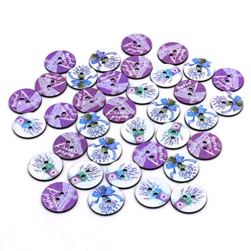 (100pcs Mixed Wooden Slice Buttons Smile Purple Flower Dragonfly Round Assorted Buttons for Sewing DIY Crafts 25mm (Purple))