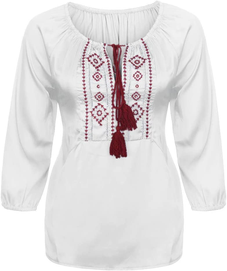 WANQUIY Bohemian Tunic Top Ladies Boho v Neck Strappy Embroidery Tank Tops Shirts Blouses Black, L