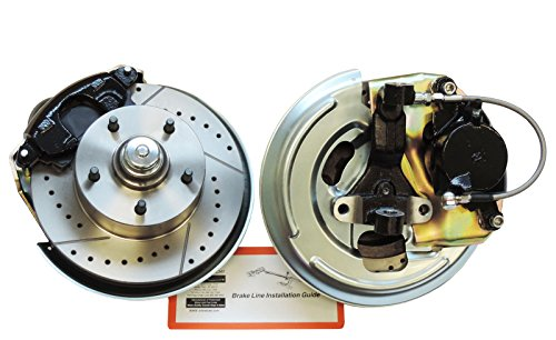 Compatible With 1962-1967 Nova Chevy II Front Disc Brake Conversion Wheel Kit Set Cross D & Slotted (N-2-1)