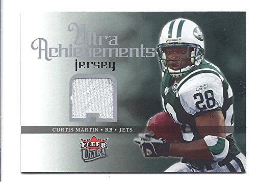 CURTIS MARTIN 2006 Fleer Ultra Achievements #USCM Game-Used Jersey Parallel Card New York Jets Football