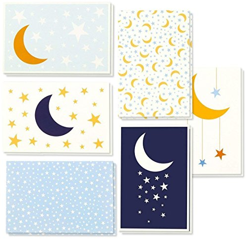 (All Occasion Greeting Cards Box Set - 48-Pack Greeting Cards, 6 Moon and Stars Designs, Envelopes Included, 4 x 6 Inches)