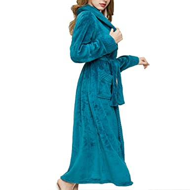 5be9ab8fce Raylans Women s Flannel Terry Cloth Bathrobe Shawl Collar Velour Spa Robe  at Amazon Women s Clothing store