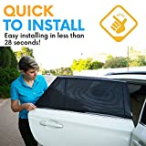 ATK Essential Products Car Window Shades For Baby -2019 Premium Version -Breathable Mesh -Protect Kids/Pets From Sun - Easy Fit - Universal Fits Most Models   2 Pack + Baby On Board Sticker