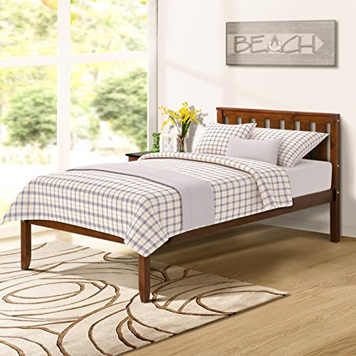 "s 12"" Deluxe Wood Platform Bed with Headboard/Wood Slat Support/No Box Spring Nedded Twin (Walnut.) ()"