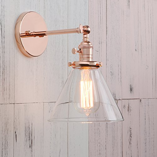 Rose Gold Wall Lamps : Permo Single Sconce with Funnel Flared Glass Clear Glass Shade - Import It All