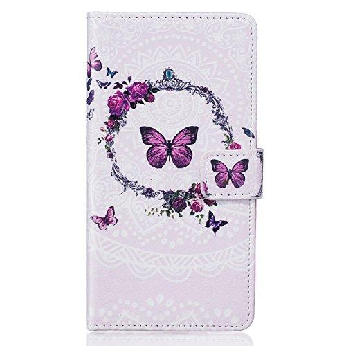 Ukayfe Flip funda de cuero PU para Samsung Galaxy S5, Leather Wallet Case Cover Skin Shell Carcasa Funda para Samsung Galaxy S5 con Pintado Patrón Diseño, Cubierta de la caja Funda protectora de cuero Modello di Farfalla