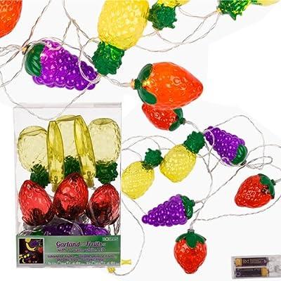 10lumières LED Mix Fruits de couleur fantaisie Guirlande lumineuse Intérieur Corde fête Deco NEUF