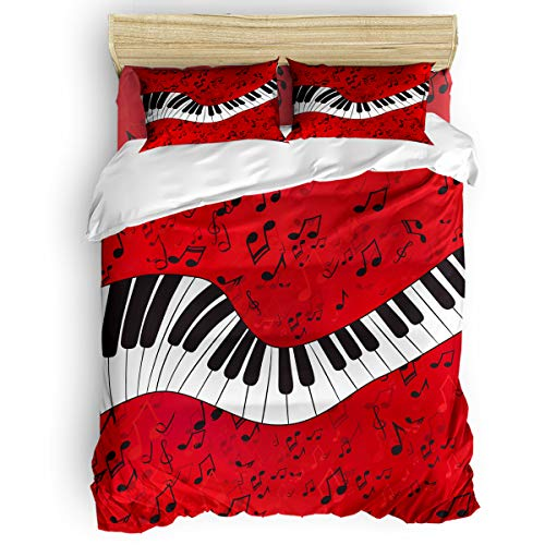 Plelat Full Size 4 Pieces Duvet Cover Set with Zipper,Piano Music Note Pattern Duvet Cover Sets for Kids Boys Girls,Include 1 Duvet Cover+1 Bed Sheets+2 Pillow Case -
