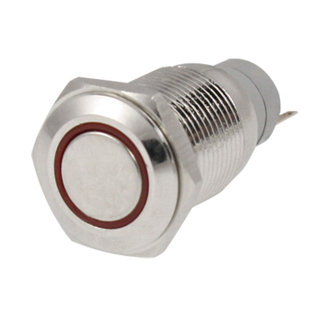 TOOGOO Engelsauge rote LED 16mm 12V Metall momentaner Druckknopf-Schalter R