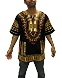 Traditional Thailand African Dashiki Shirt Available 1 Pack Or 2 Pack (1 Pack, Black/Yellow)