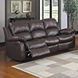 Recliner Sofa, Couch, Double Reclining, 3-Seat, Luxury, Home Theater, Office, Living Room, Guestroom + Free Expert Guide (Brown)