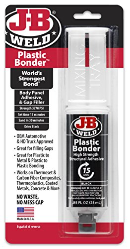 J-B Weld 50139 Plastic Bonder Body Panel Adhesive and Gap Filler Syringe - Dries Black - 25 ml (Plastic Adhesive)