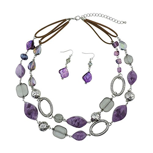 Bocar 2 Strand Statement Choker Shell Necklace and Earring Set for Women Gift (NK-10370-purple)