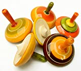 Lot of 6 pcs Handmade Painted Wood Spinning Tops Wooden...